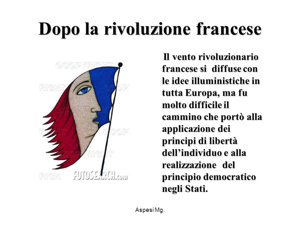 Aspesi Mg. Dopo la rivoluzione francese Il vento rivoluzionario francese si diffuse con le idee illuministiche in tutta Europa, ma fu molto difficile