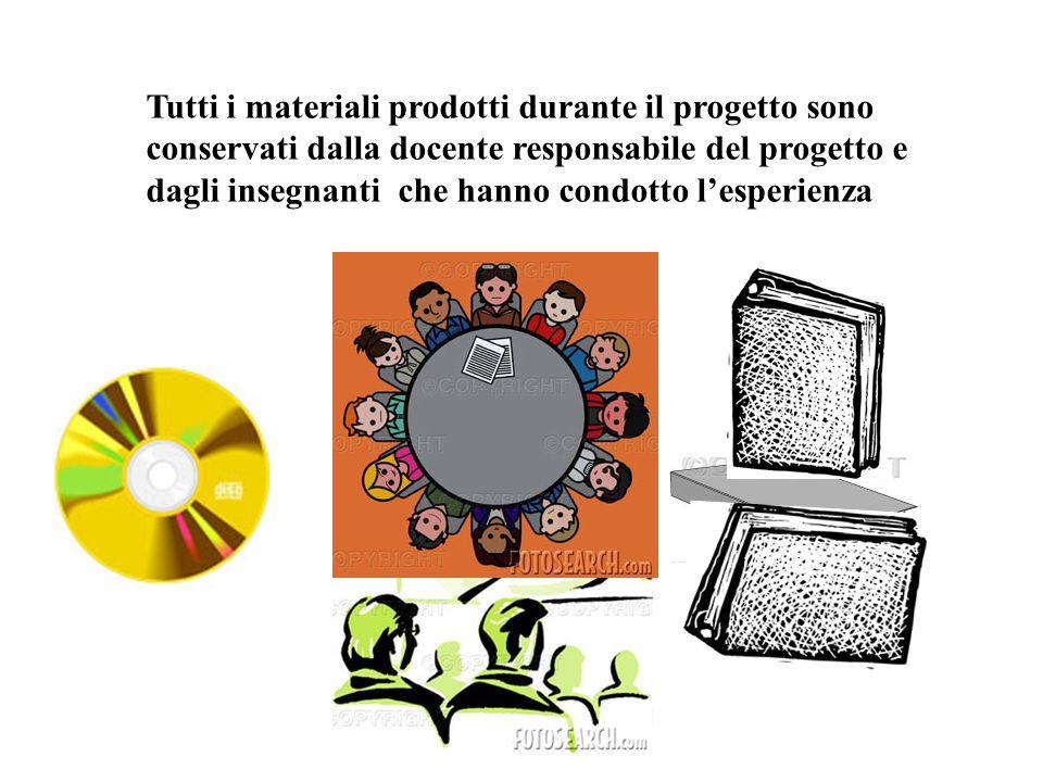 Aspesi Mg. Tutti i materiali prodotti durante il progetto sono conservati dalla docente responsabile del progetto e dagli insegnanti che hanno condott
