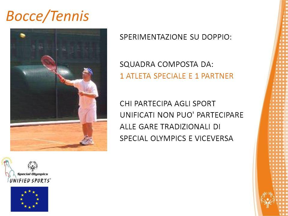 SPERIMENTAZIONE SU DOPPIO: SQUADRA COMPOSTA DA: 1 ATLETA SPECIALE E 1 PARTNER CHI PARTECIPA AGLI SPORT UNIFICATI NON PUO PARTECIPARE ALLE GARE TRADIZIONALI DI SPECIAL OLYMPICS E VICEVERSA Bocce/Tennis