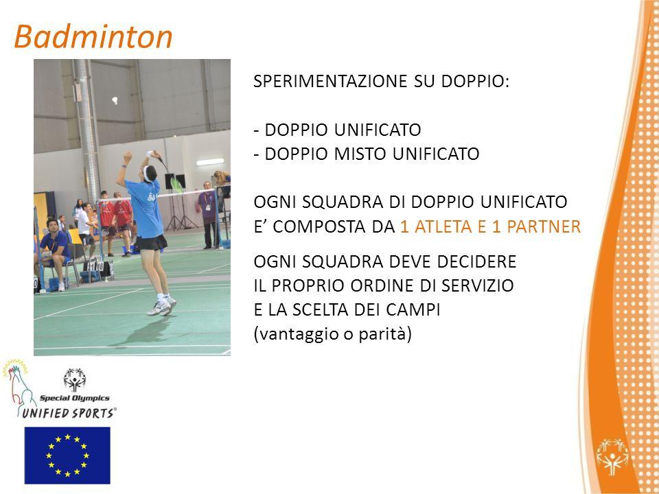 Badminton SPERIMENTAZIONE SU DOPPIO: - DOPPIO UNIFICATO - DOPPIO MISTO UNIFICATO OGNI SQUADRA DI DOPPIO UNIFICATO E COMPOSTA DA 1 ATLETA E 1 PARTNER OGNI SQUADRA DEVE DECIDERE IL PROPRIO ORDINE DI SERVIZIO E LA SCELTA DEI CAMPI (vantaggio o parità)