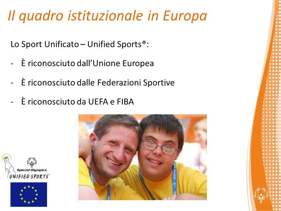 Lo Sport Unificato – Unified Sports®: -È riconosciuto dallUnione Europea -È riconosciuto dalle Federazioni Sportive -È riconosciuto da UEFA e FIBA Il quadro istituzionale in Europa