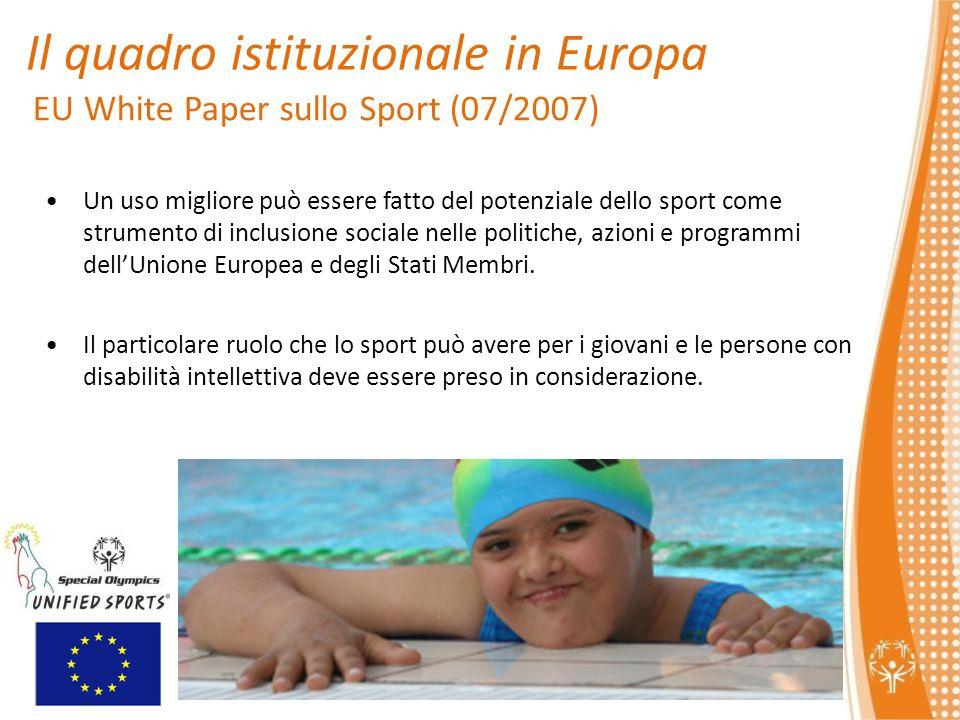 EU White Paper sullo Sport (07/2007) Un uso migliore può essere fatto del potenziale dello sport come strumento di inclusione sociale nelle politiche, azioni e programmi dellUnione Europea e degli Stati Membri.