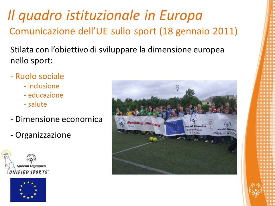 Il quadro istituzionale in Europa Comunicazione dellUE sullo sport (18 gennaio 2011) Stilata con lobiettivo di sviluppare la dimensione europea nello sport: - Ruolo sociale - inclusione - educazione - salute - Dimensione economica - Organizzazione