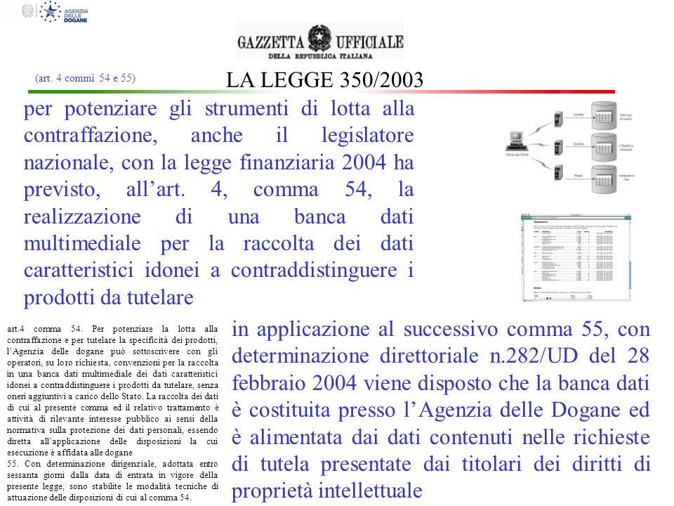 LA LEGGE 350/2003 art.4 comma 54. Per potenziare la lotta alla contraffazione e per tutelare la specificità dei prodotti, lAgenzia delle dogane può so