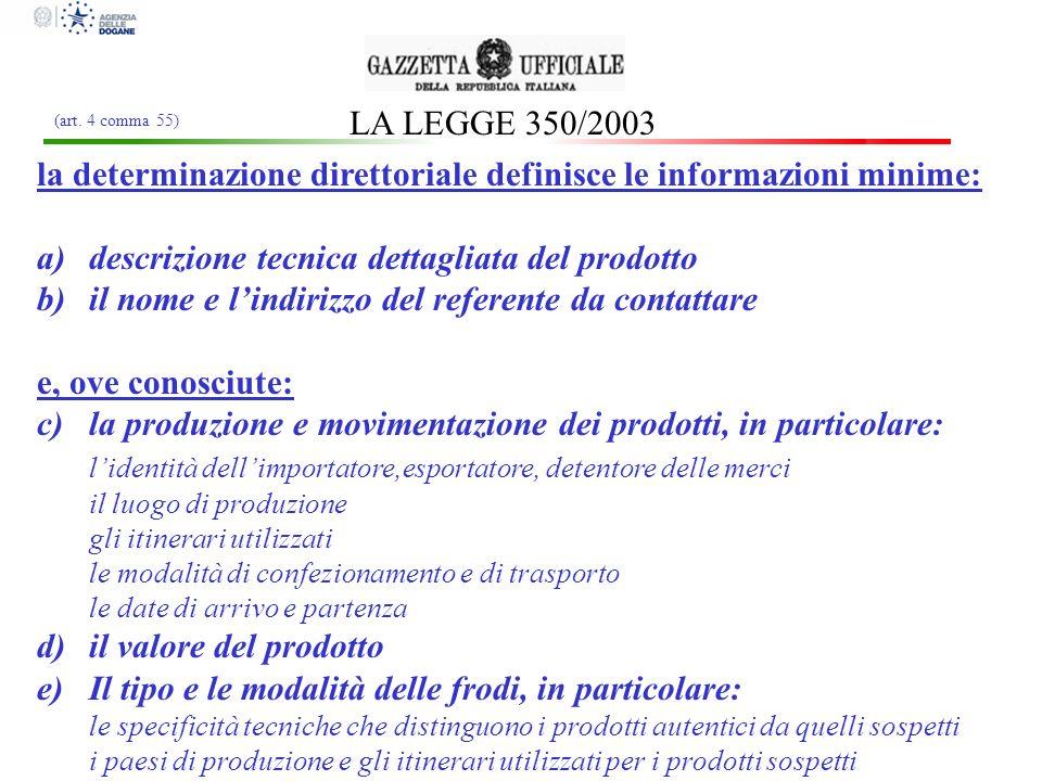 LA LEGGE 350/2003 la determinazione direttoriale definisce le informazioni minime: a)descrizione tecnica dettagliata del prodotto b)il nome e lindiriz