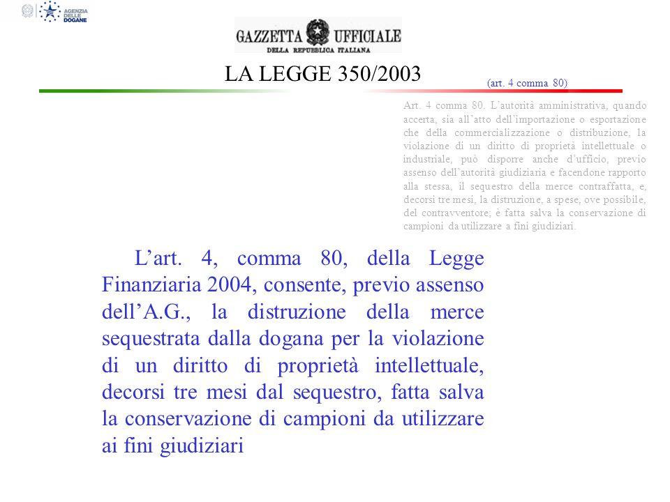 LA LEGGE 350/2003 (art. 4 comma 80) Art. 4 comma 80. Lautorità amministrativa, quando accerta, sia allatto dellimportazione o esportazione che della c