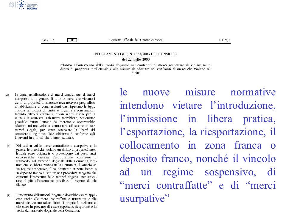 le nuove misure normative intendono vietare lintroduzione, limmissione in libera pratica, lesportazione, la riesportazione, il collocamento in zona fr