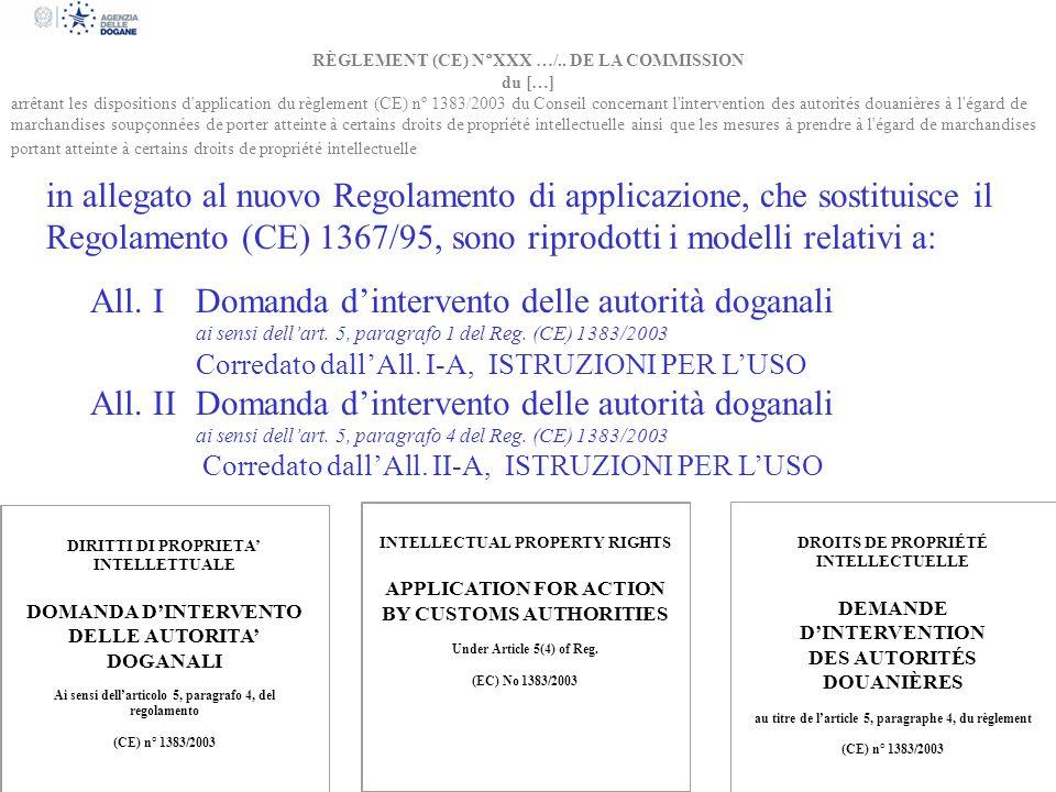 RÈGLEMENT (CE) N°XXX …/.. DE LA COMMISSION du […] arrêtant les dispositions d'application du règlement (CE) nº 1383/2003 du Conseil concernant l'inter
