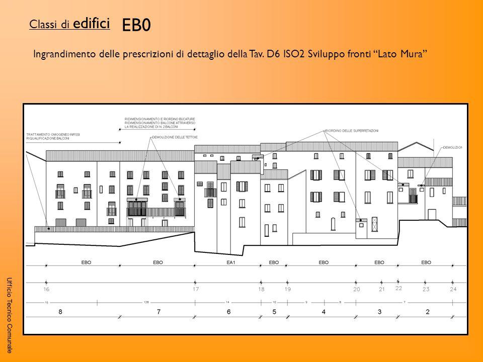 Ufficio Tecnico Comunale EB0 Classi di edifici Ingrandimento delle prescrizioni di dettaglio della Tav. D6 ISO2 Sviluppo fronti Lato Mura