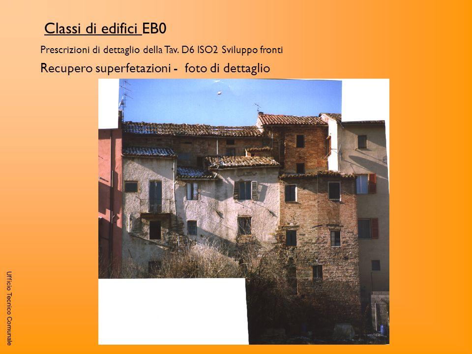 Ufficio Tecnico Comunale Classi di edifici EB0 Prescrizioni di dettaglio della Tav. D6 ISO2 Sviluppo fronti Recupero superfetazioni - foto di dettagli