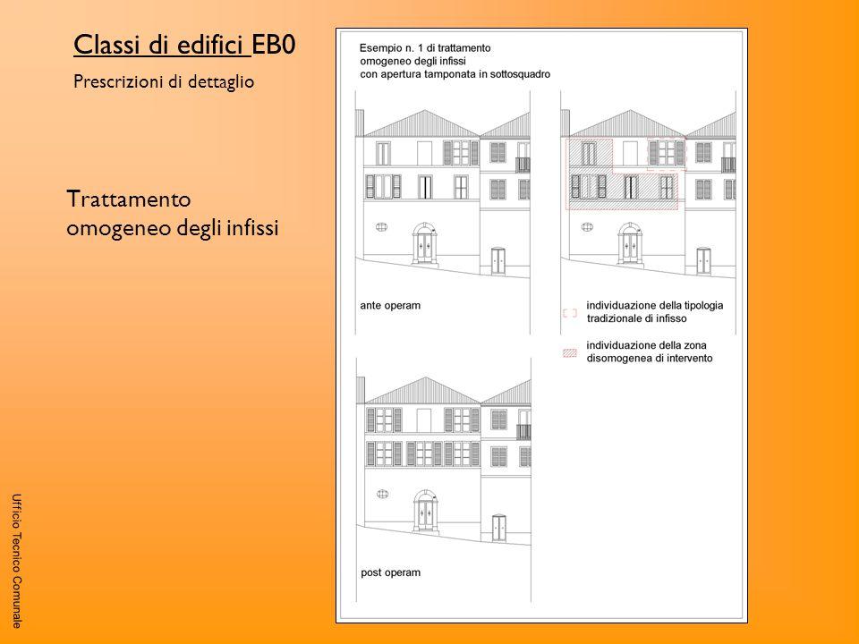Ufficio Tecnico Comunale Classi di edifici EB0 Prescrizioni di dettaglio Trattamento omogeneo degli infissi