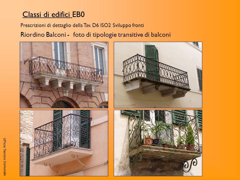 Ufficio Tecnico Comunale Classi di edifici EB0 Prescrizioni di dettaglio della Tav. D6 ISO2 Sviluppo fronti Riordino Balconi - foto di tipologie trans