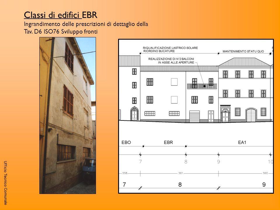 Ufficio Tecnico Comunale Classi di edifici EBR Ingrandimento delle prescrizioni di dettaglio della Tav. D6 ISO76 Sviluppo fronti