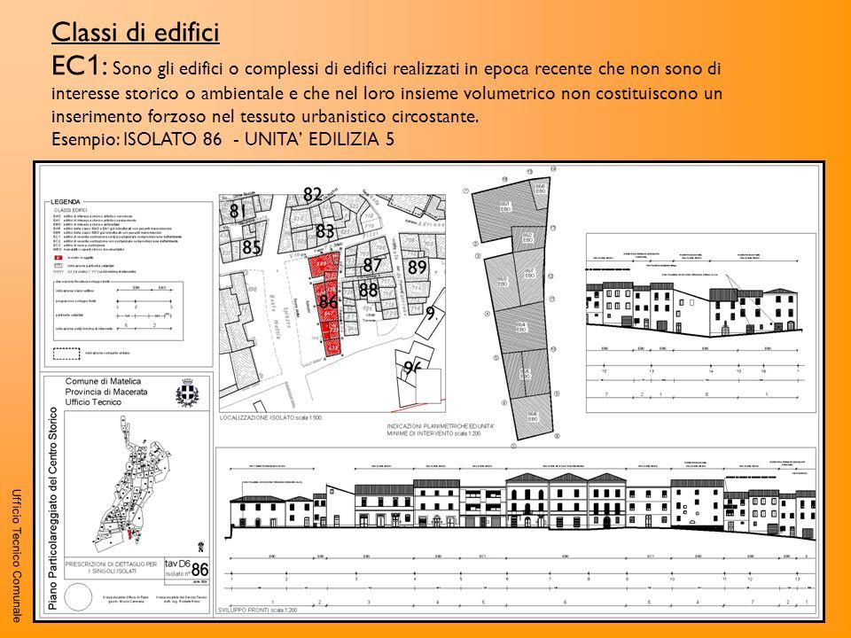 Ufficio Tecnico Comunale Classi di edifici EC 1 : Sono gli edifici o complessi di edifici realizzati in epoca recente che non sono di interesse storic