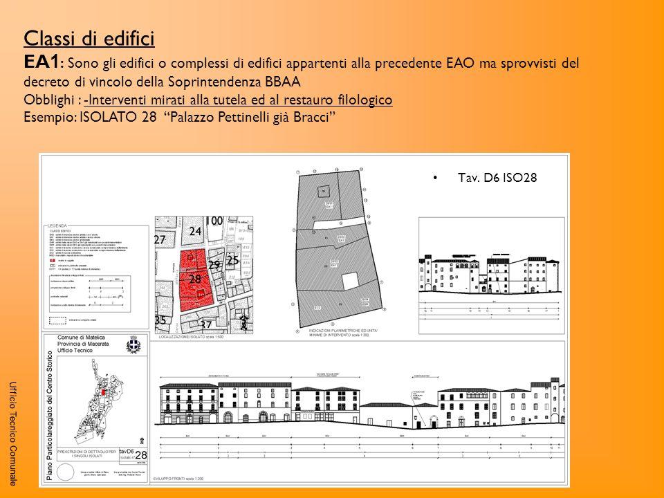 Ufficio Tecnico Comunale Classi di edifici EA 1 : Sono gli edifici o complessi di edifici appartenti alla precedente EAO ma sprovvisti del decreto di