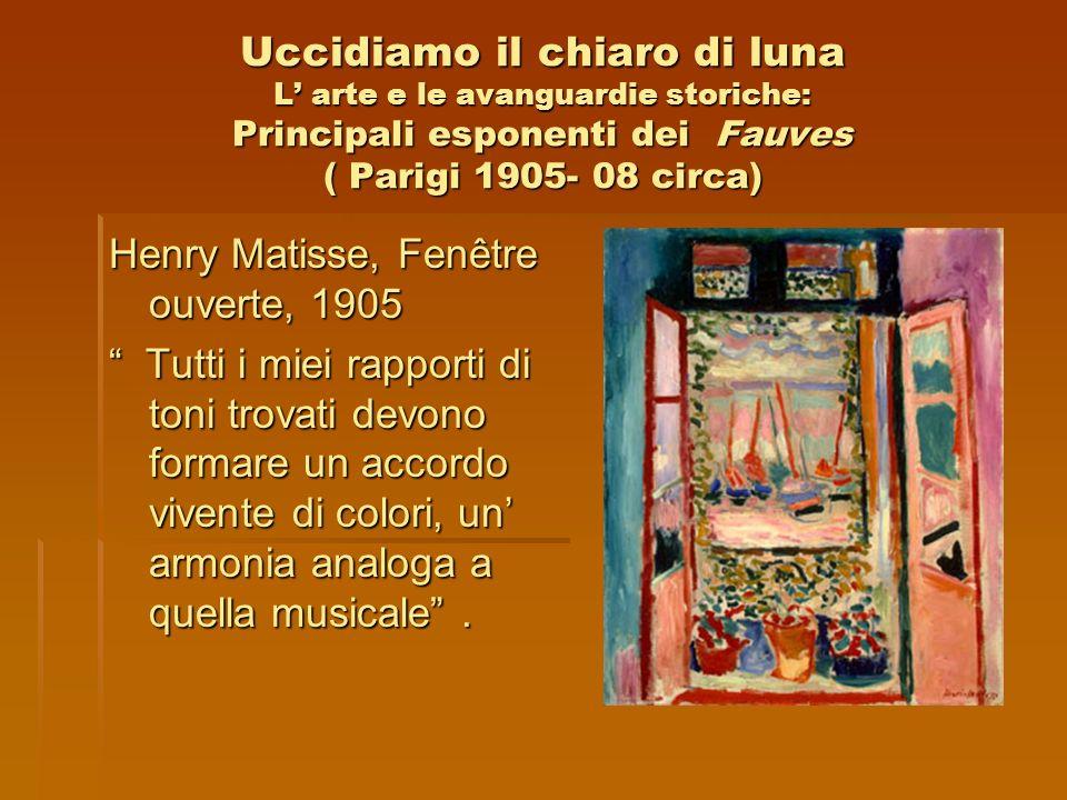 Uccidiamo il chiaro di luna L arte e le avanguardie storiche: Principali esponenti dei Fauves ( Parigi 1905- 08 circa) Henry Matisse, Fenêtre ouverte,