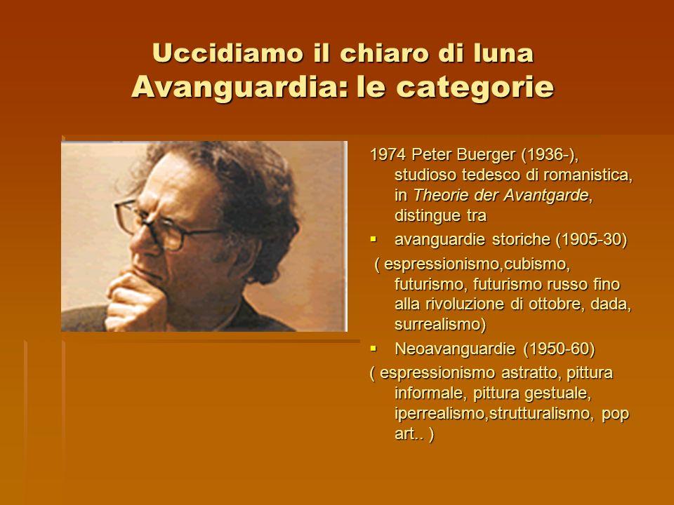 Uccidiamo il chiaro di luna Avanguardia: le categorie 1974 Peter Buerger (1936-), studioso tedesco di romanistica, in Theorie der Avantgarde, distingu