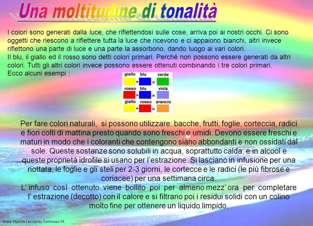 I colori naturali si chiamano così perché nascono dalla natura e si possono creare con sostanze naturali come: caffè, zafferano, fiori, foglie, corteccia di albero… Lorigine del nome COLORE è latina: color coloris.