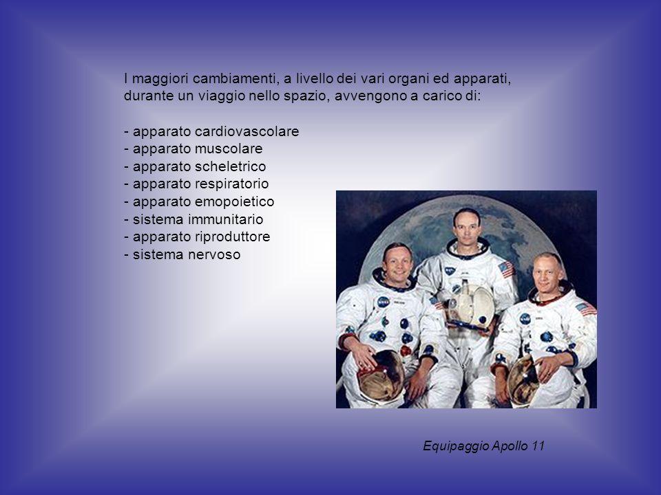 I maggiori cambiamenti, a livello dei vari organi ed apparati, durante un viaggio nello spazio, avvengono a carico di: - apparato cardiovascolare - ap
