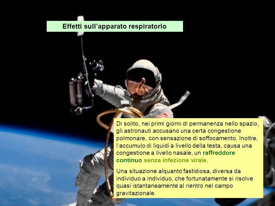Effetti sullapparato respiratorio Di solito, nei primi giorni di permanenza nello spazio, gli astronauti accusano una certa congestione polmonare, con
