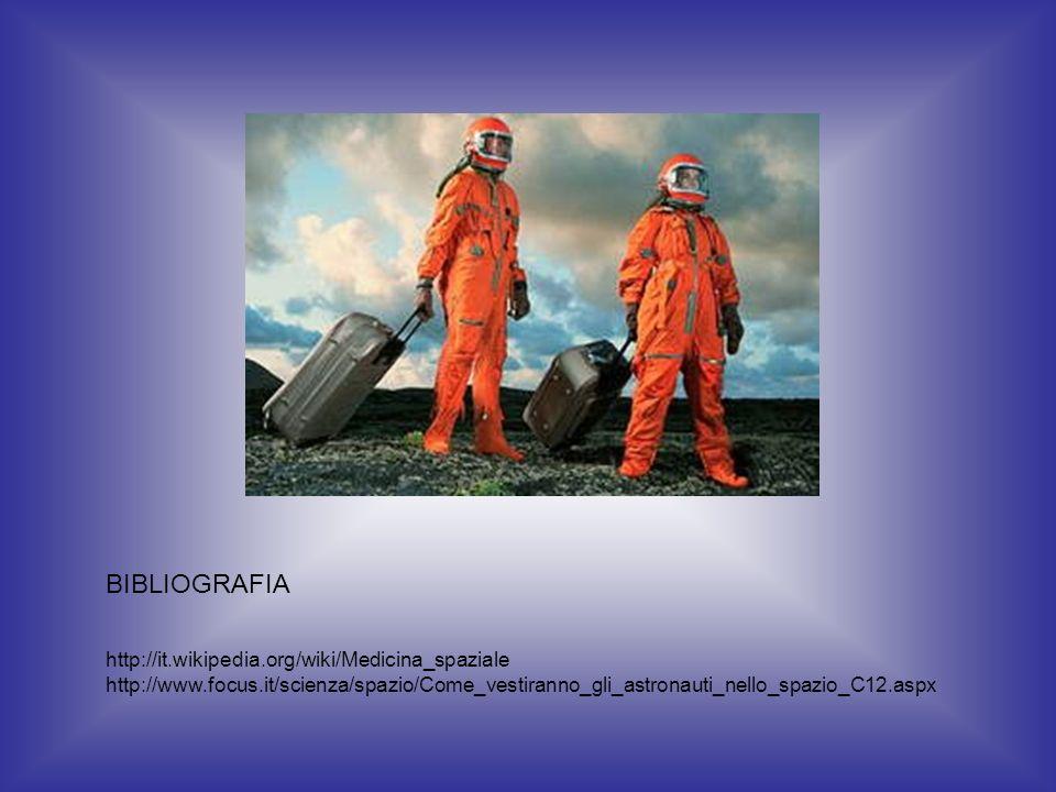 BIBLIOGRAFIA http://it.wikipedia.org/wiki/Medicina_spaziale http://www.focus.it/scienza/spazio/Come_vestiranno_gli_astronauti_nello_spazio_C12.aspx