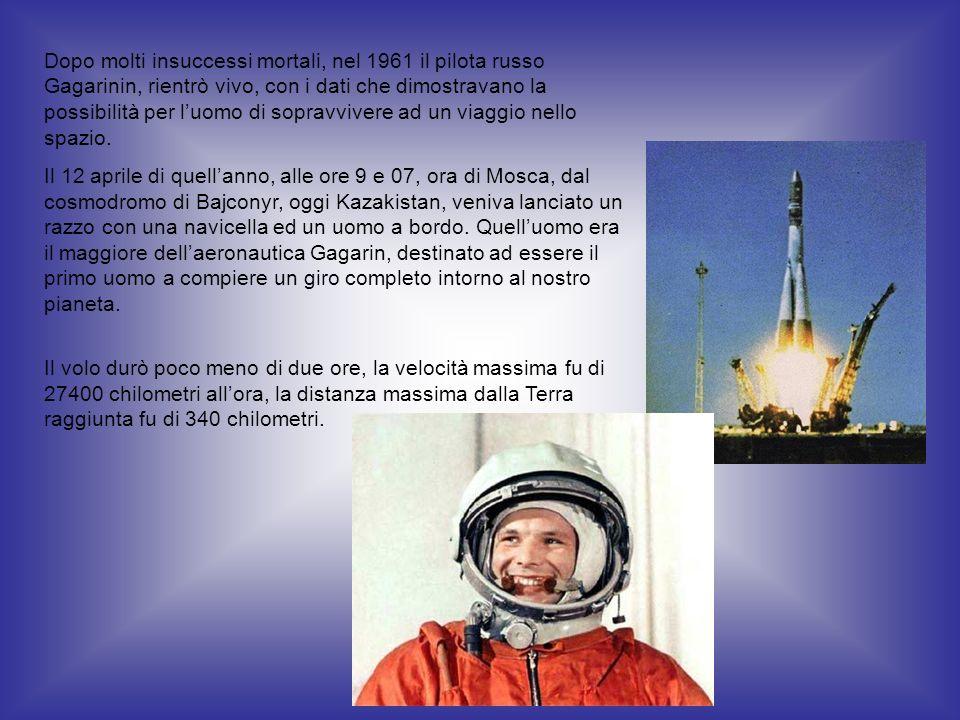 Dopo molti insuccessi mortali, nel 1961 il pilota russo Gagarinin, rientrò vivo, con i dati che dimostravano la possibilità per luomo di sopravvivere