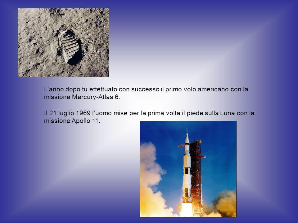 Lanno dopo fu effettuato con successo il primo volo americano con la missione Mercury-Atlas 6. Il 21 luglio 1969 luomo mise per la prima volta il pied