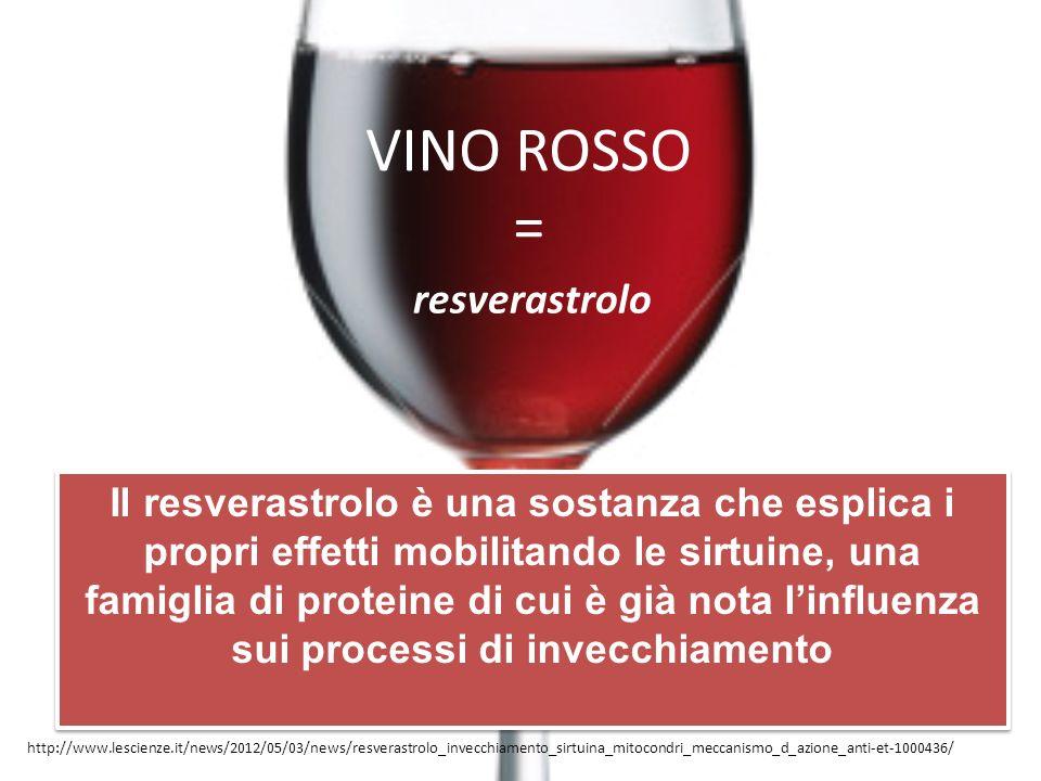 VINO ROSSO = resverastrolo Il resverastrolo è una sostanza che esplica i propri effetti mobilitando le sirtuine, una famiglia di proteine di cui è già nota linfluenza sui processi di invecchiamento http://www.lescienze.it/news/2012/05/03/news/resverastrolo_invecchiamento_sirtuina_mitocondri_meccanismo_d_azione_anti-et-1000436/