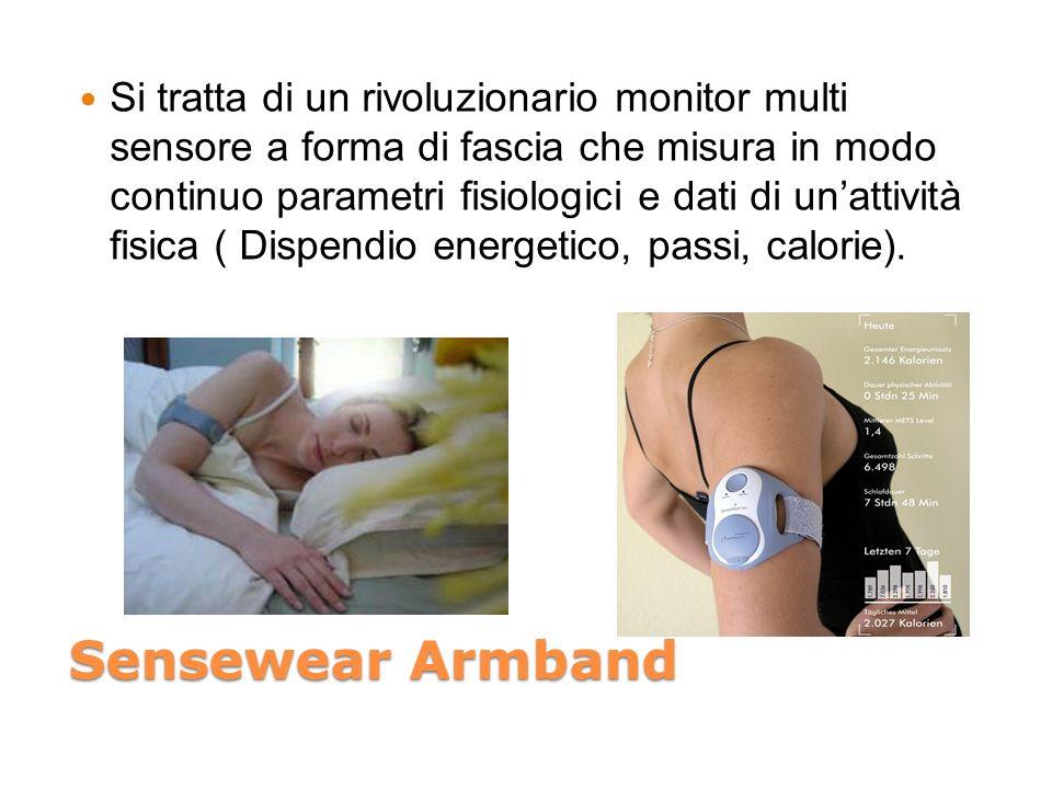 Sensewear Armband Si tratta di un rivoluzionario monitor multi sensore a forma di fascia che misura in modo continuo parametri fisiologici e dati di unattività fisica ( Dispendio energetico, passi, calorie).