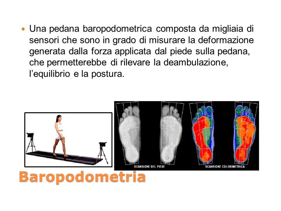 Baropodometria Una pedana baropodometrica composta da migliaia di sensori che sono in grado di misurare la deformazione generata dalla forza applicata dal piede sulla pedana, che permetterebbe di rilevare la deambulazione, lequilibrio e la postura.