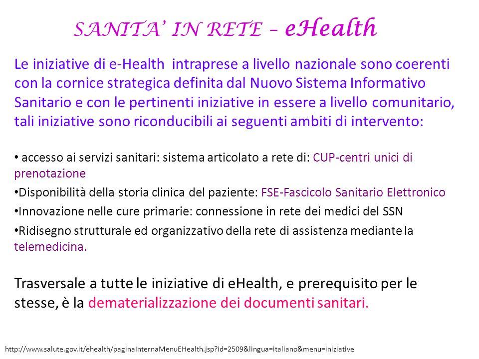 SANITA IN RETE – eHealth Le iniziative di e-Health intraprese a livello nazionale sono coerenti con la cornice strategica definita dal Nuovo Sistema I