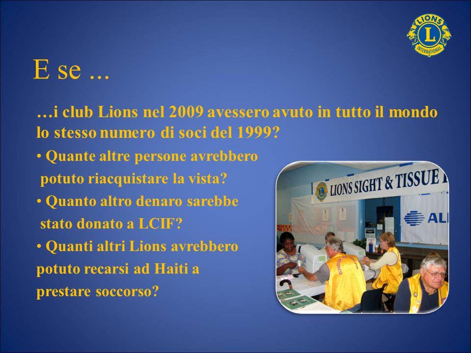 …i club Lions nel 2009 avessero avuto in tutto il mondo lo stesso numero di soci del 1999? Quante altre persone avrebbero potuto riacquistare la vista