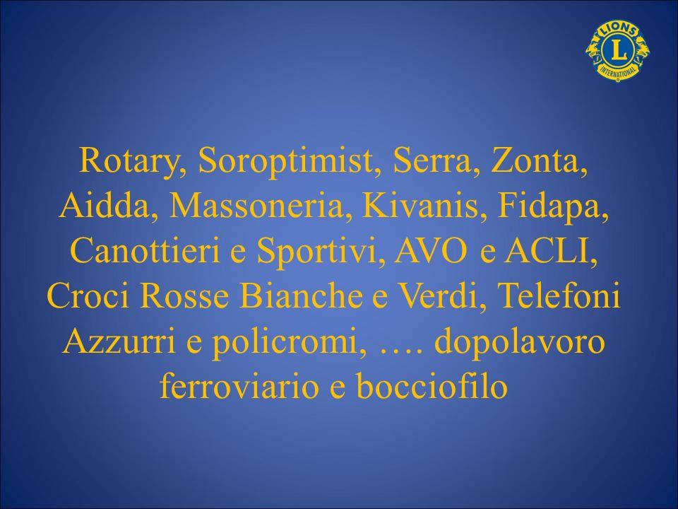 Rotary, Soroptimist, Serra, Zonta, Aidda, Massoneria, Kivanis, Fidapa, Canottieri e Sportivi, AVO e ACLI, Croci Rosse Bianche e Verdi, Telefoni Azzurr