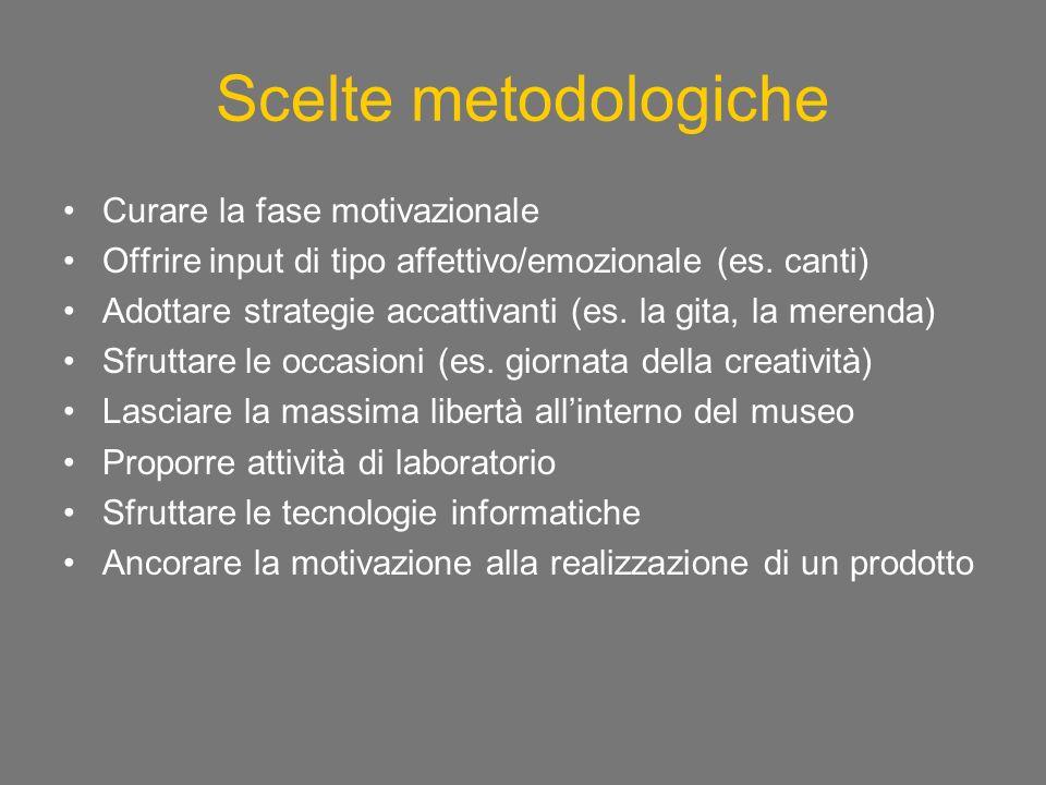 Scelte metodologiche Curare la fase motivazionale Offrire input di tipo affettivo/emozionale (es.