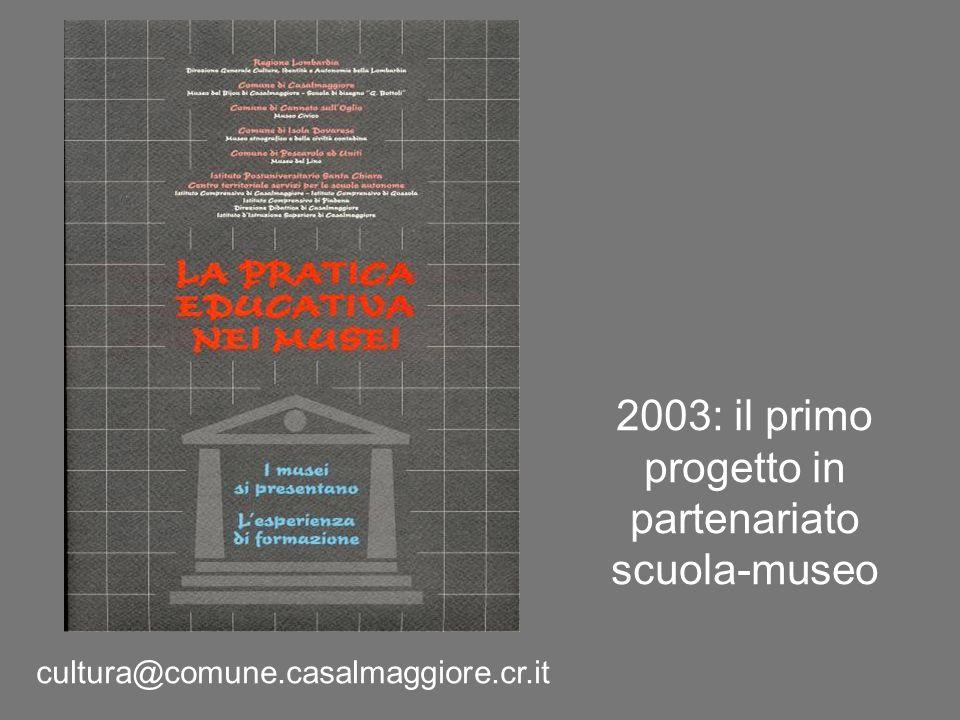 2003: il primo progetto in partenariato scuola-museo cultura@comune.casalmaggiore.cr.it