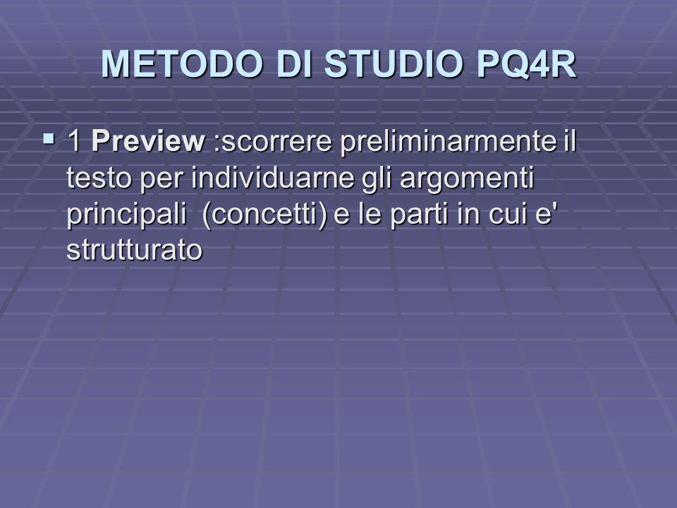 METODO DI STUDIO PQ4R 1 Preview :scorrere preliminarmente il testo per individuarne gli argomenti principali (concetti) e le parti in cui e' struttura