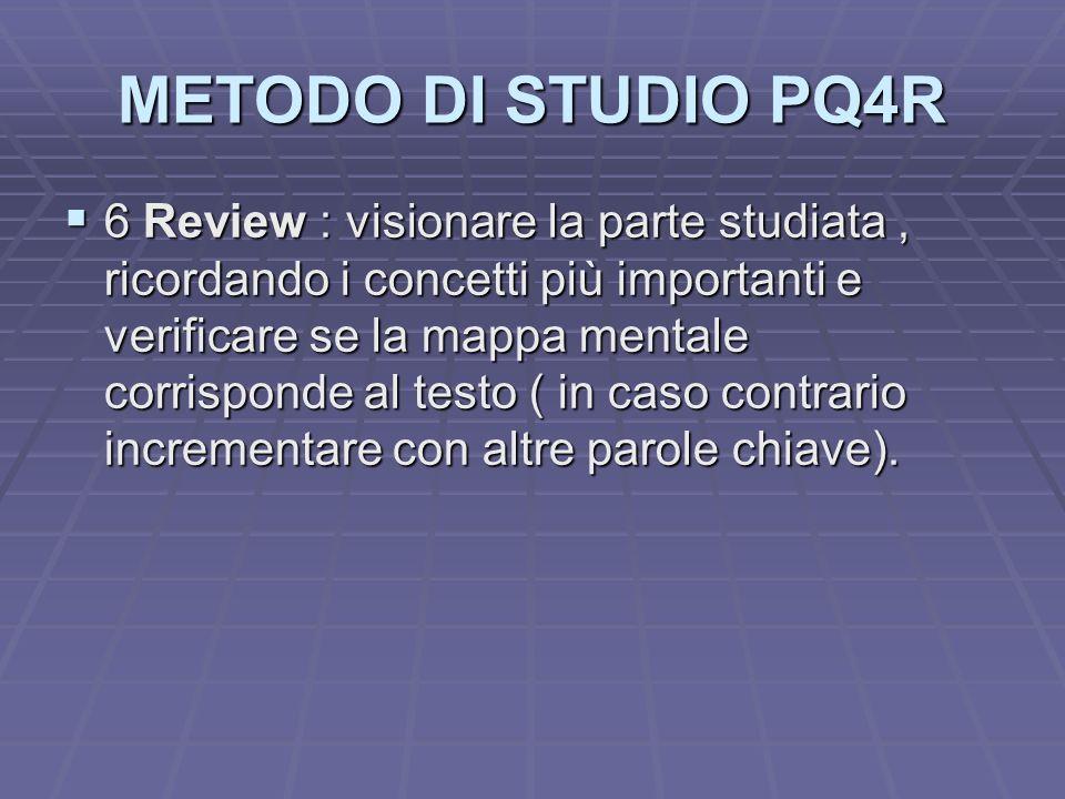 METODO DI STUDIO PQ4R 6 Review : visionare la parte studiata, ricordando i concetti più importanti e verificare se la mappa mentale corrisponde al tes