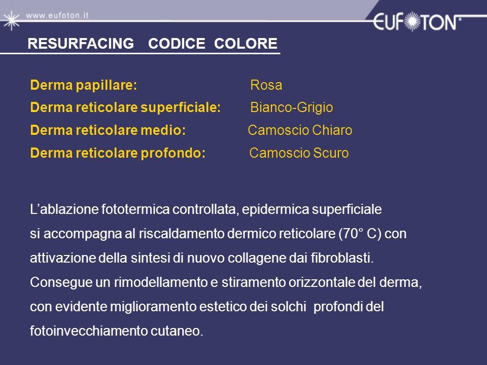 Derma papillare: Rosa Derma reticolare superficiale: Bianco-Grigio Derma reticolare medio: Camoscio Chiaro Derma reticolare profondo: Camoscio Scuro L