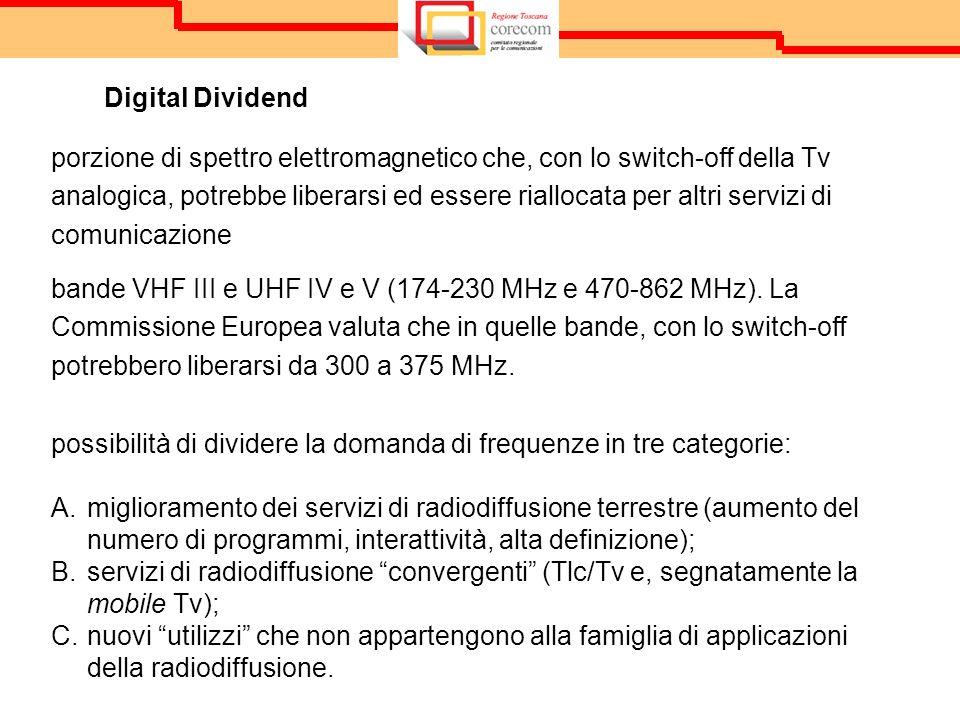 Digital Dividend porzione di spettro elettromagnetico che, con lo switch-off della Tv analogica, potrebbe liberarsi ed essere riallocata per altri servizi di comunicazione bande VHF III e UHF IV e V (174-230 MHz e 470-862 MHz).