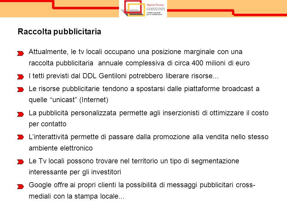 Attualmente, le tv locali occupano una posizione marginale con una raccolta pubblicitaria annuale complessiva di circa 400 milioni di euro I tetti previsti dal DDL Gentiloni potrebbero liberare risorse...
