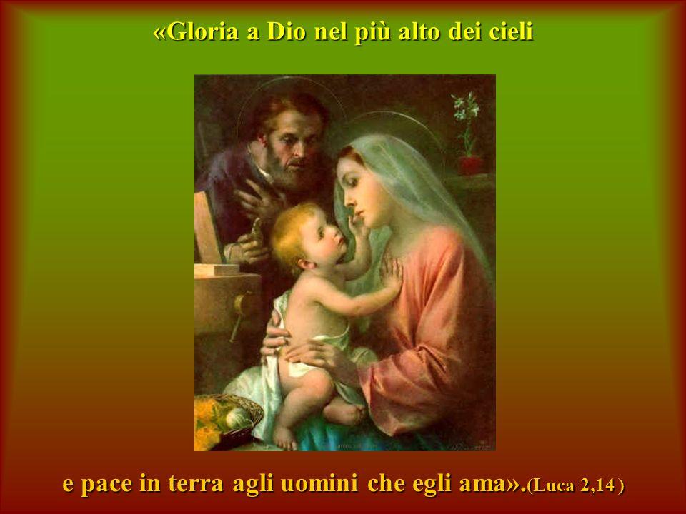«Gloria a Dio nel più alto dei cieli e pace in terra agli uomini che egli ama». (Luca 2,14 )