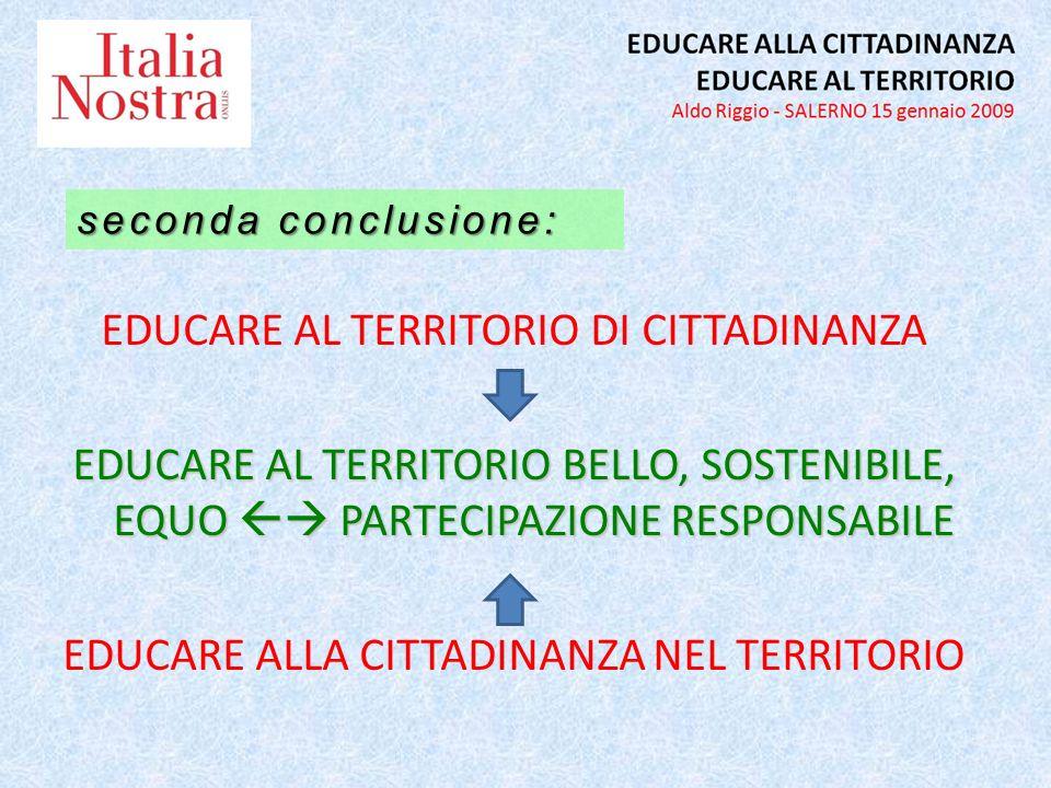 EDUCARE AL TERRITORIO DI CITTADINANZA EDUCARE AL TERRITORIO BELLO, SOSTENIBILE, EQUO PARTECIPAZIONE RESPONSABILE EDUCARE ALLA CITTADINANZA NEL TERRITORIO seconda conclusione: