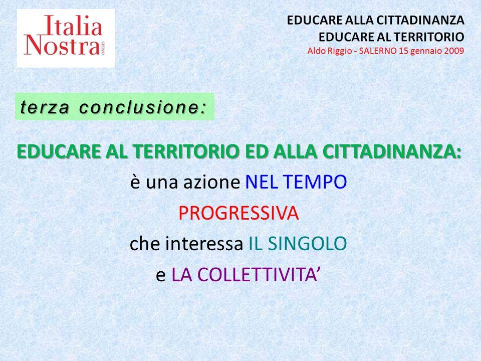 EDUCARE AL TERRITORIO ED ALLA CITTADINANZA: è una azione NEL TEMPO PROGRESSIVA che interessa IL SINGOLO e LA COLLETTIVITA terza conclusione: