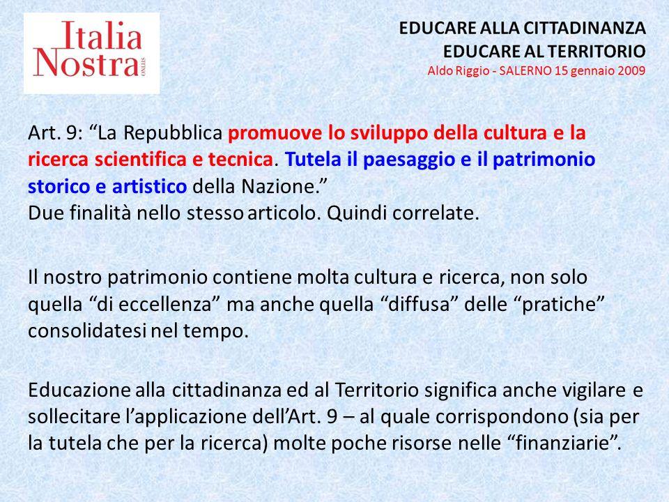 Art. 9: La Repubblica promuove lo sviluppo della cultura e la ricerca scientifica e tecnica.