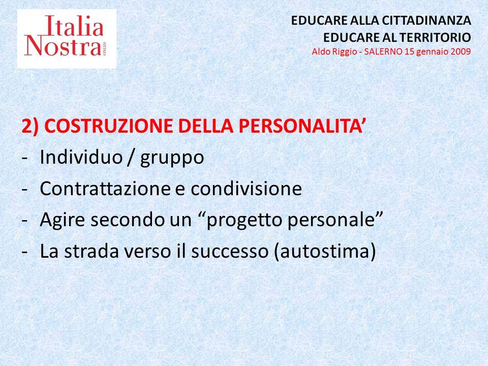 2) COSTRUZIONE DELLA PERSONALITA -Individuo / gruppo -Contrattazione e condivisione -Agire secondo un progetto personale -La strada verso il successo (autostima)