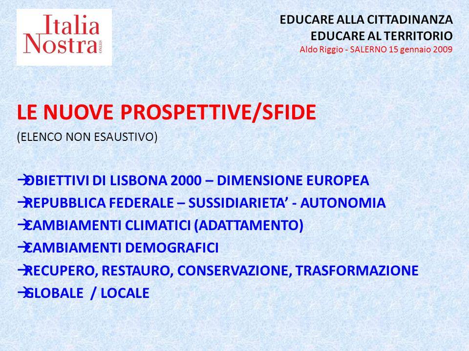 LE NUOVE PROSPETTIVE/SFIDE (ELENCO NON ESAUSTIVO) OBIETTIVI DI LISBONA 2000 – DIMENSIONE EUROPEA REPUBBLICA FEDERALE – SUSSIDIARIETA - AUTONOMIA CAMBIAMENTI CLIMATICI (ADATTAMENTO) CAMBIAMENTI DEMOGRAFICI RECUPERO, RESTAURO, CONSERVAZIONE, TRASFORMAZIONE GLOBALE / LOCALE