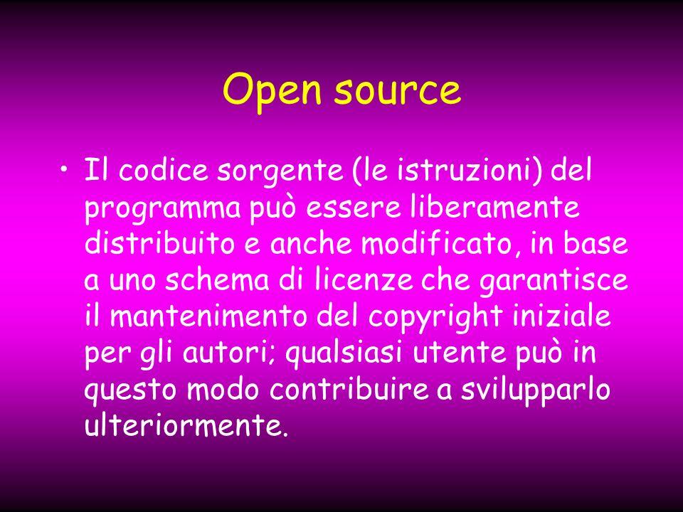 Open source Il codice sorgente (le istruzioni) del programma può essere liberamente distribuito e anche modificato, in base a uno schema di licenze che garantisce il mantenimento del copyright iniziale per gli autori; qualsiasi utente può in questo modo contribuire a svilupparlo ulteriormente.