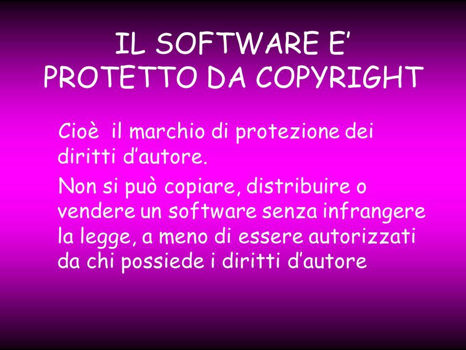 LA LICENZA Quando si acquista un software si riceve la relativa licenza: questa è un contatto legale, che specifica quale uso si può fare del programma.