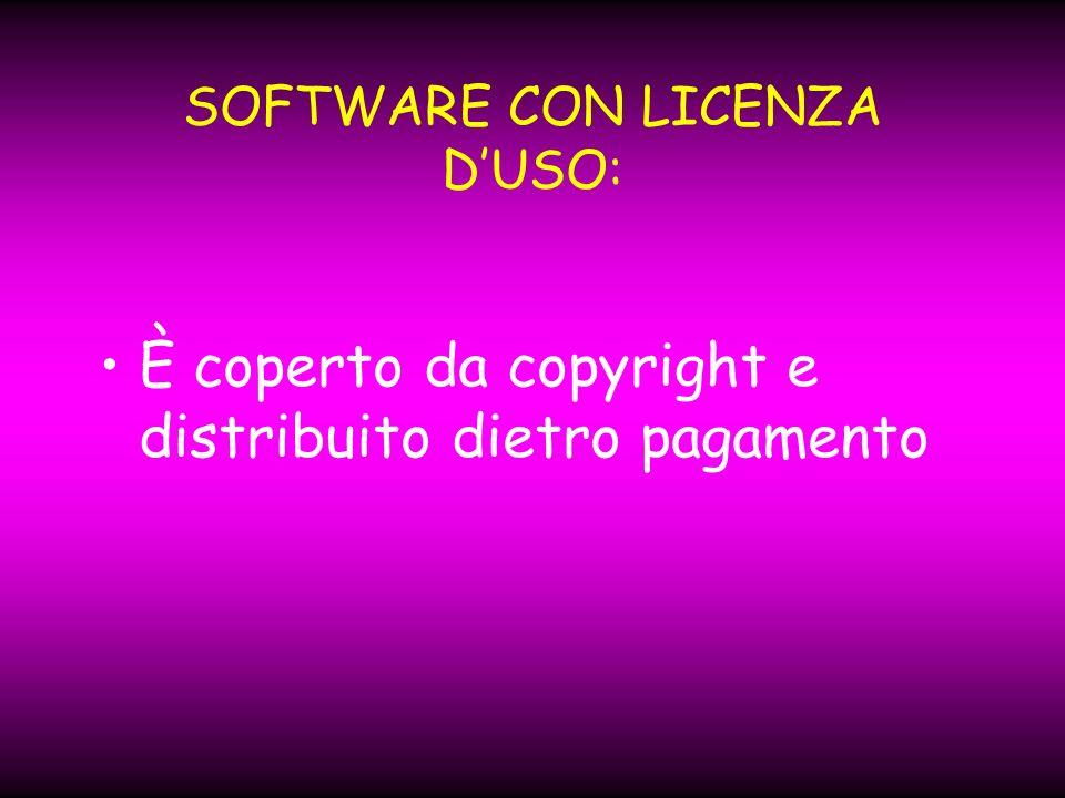 SOFTWARE CON LICENZA DUSO: È coperto da copyright e distribuito dietro pagamento