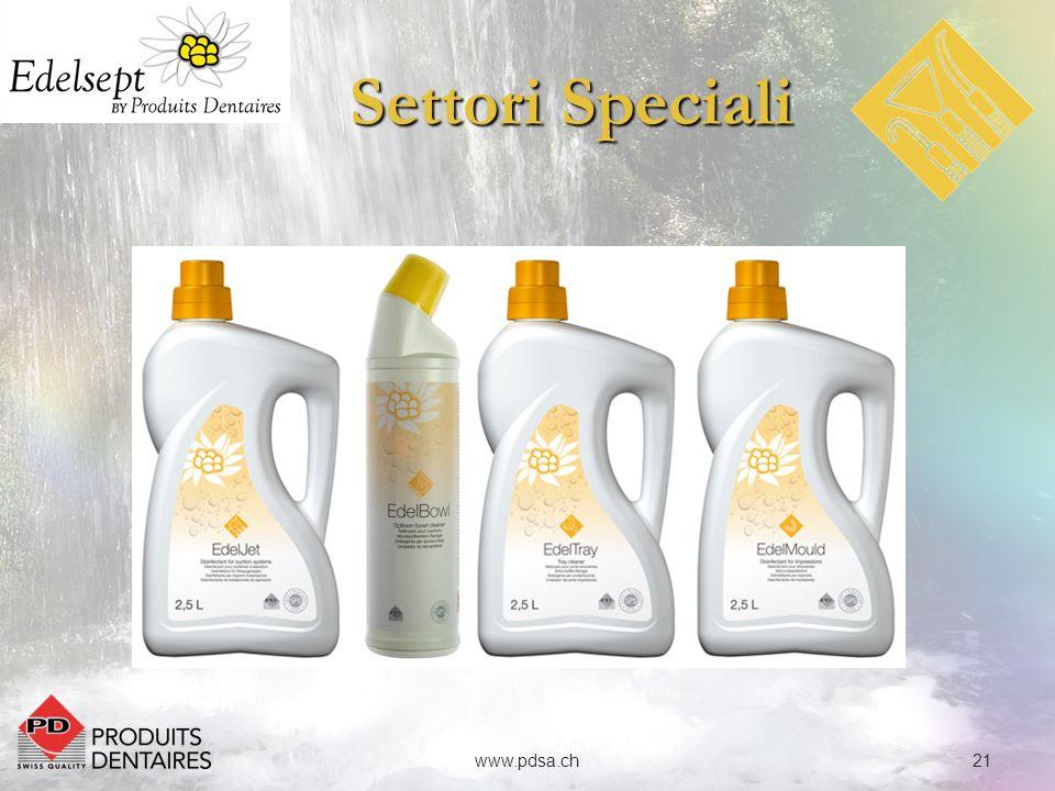 22www.pdsa.ch Settori Speciali EdelJet è un concentrato economico e non schiumoso per pulire, disinfettare, deodorare e mantenere i sistemi di aspirazione e i separatori di amalgami.